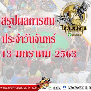 สรุปผลการชนจากทีมงานไก่ชนเงินล้านประจำวันจันทร์ที่ 13 มกราคม 2563