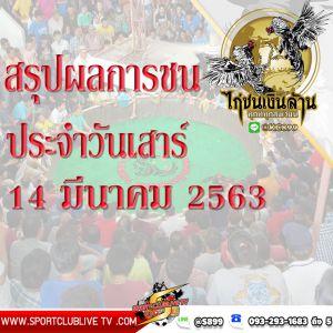 สรุปผลการชนของแต่ละสนามประจำวันเสาร์ที่ 14 มีนายน 2563